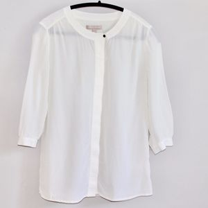 Banana Republic 100% Silk Button Down Blouse Ivory